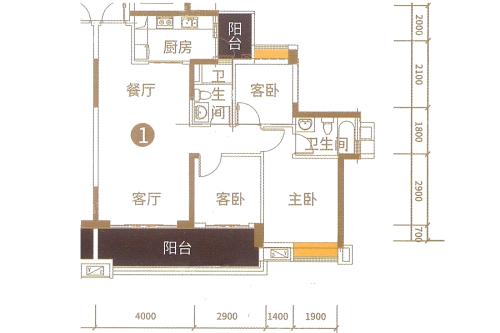 港航华庭4栋01户型-4栋01户型-3室2厅2卫1厨建筑面积110.00平米