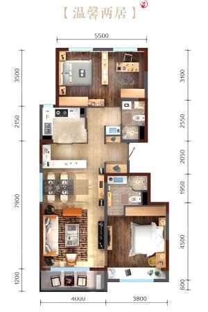 万科繁荣里温馨三居-温馨三居-3室2厅2卫1厨建筑面积112.00平米