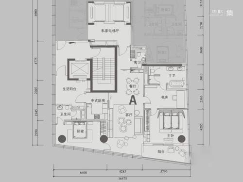 深圳湾1号T3A户型-3室2厅3卫1厨建筑面积209.00平米
