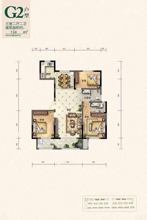 翰林庄园G2户型-3室2厅2卫1厨建筑面积134.00平米