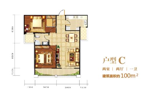 印象泰山户型C-2室2厅1卫1厨建筑面积100.00平米