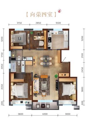 万科繁荣里向荣四室B户型图-4室2厅2卫1厨建筑面积135.00平米