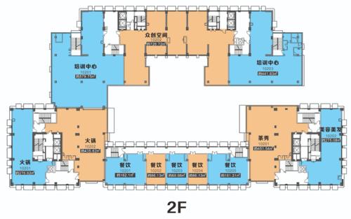 西安欧亚国际二期商铺二层平层图