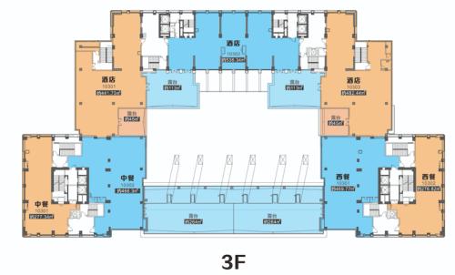 西安欧亚国际二期商铺三层平层图