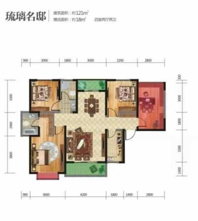 西安坤元TIME121平米户型