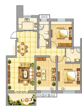 皇山华府3室2厅2卫 98.59㎡