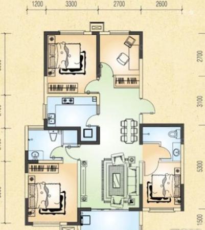 金榜龙城3室2厅2卫  117㎡