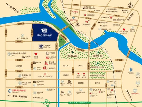 蚌埠恒大滨河左岸区位图