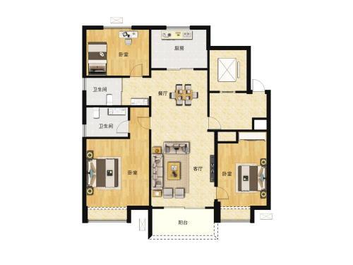 商河碧桂园公园上城3室2厅2卫,128-131平户型