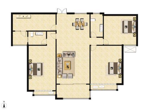 北纬37°康旅示范小镇3室2厅2卫,B1户型