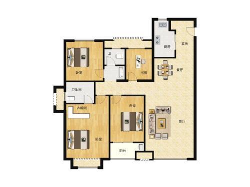 中骏雍景府4室2厅2卫,132平户型