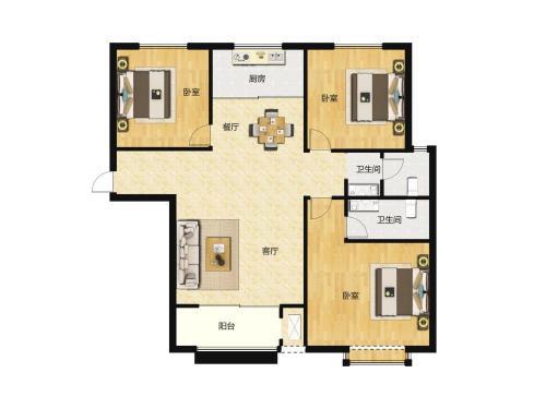 汇侨城2室2厅2卫,E2户型114平