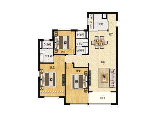 万科翡翠山语3室2厅2卫-120m²-5