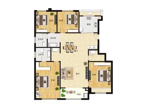 万科翡翠山语4室2厅2卫-130m²-8