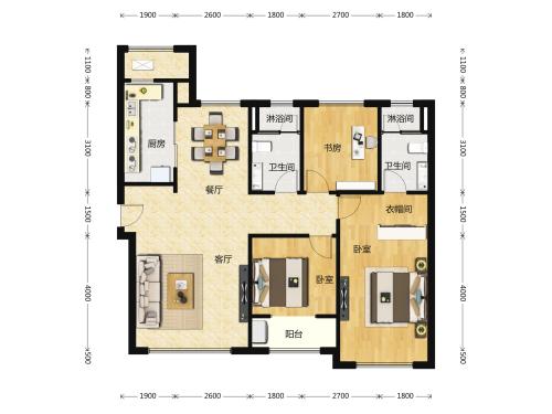 财富壹号3室2厅2卫-128m²-3