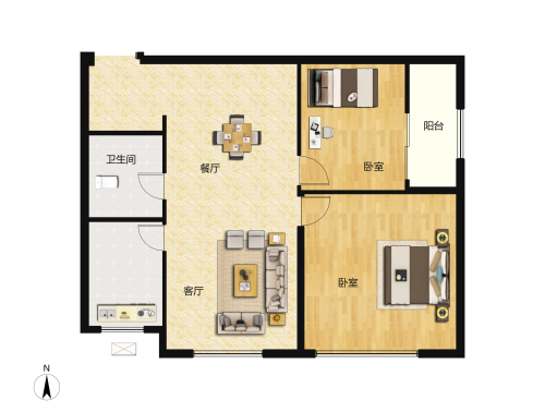 世茂深港国际中心2室2厅1卫-82m²-3