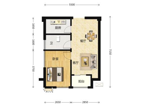 世茂深港国际中心1室1厅1卫-59m²-2
