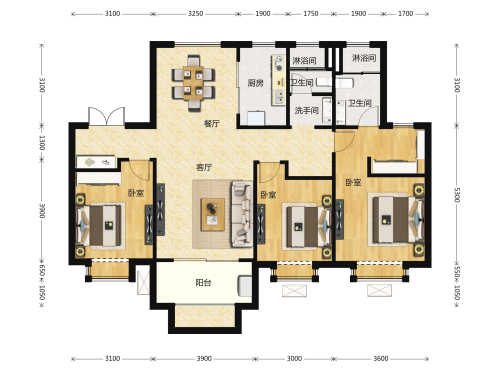 地平西棠甲第3室2厅2卫-136m²-9
