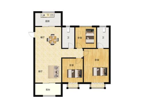 金科城3室2厅2卫-131m²-5