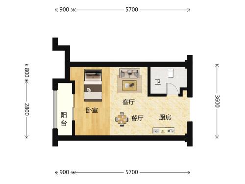 世茂深港国际中心1室1厅1卫-41m²-1