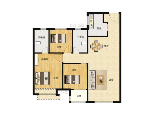 骏茂府3室2厅2卫-100m²-1