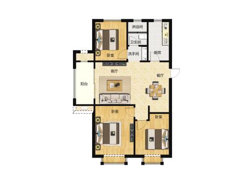 金科城3室2厅1卫-107m²-10