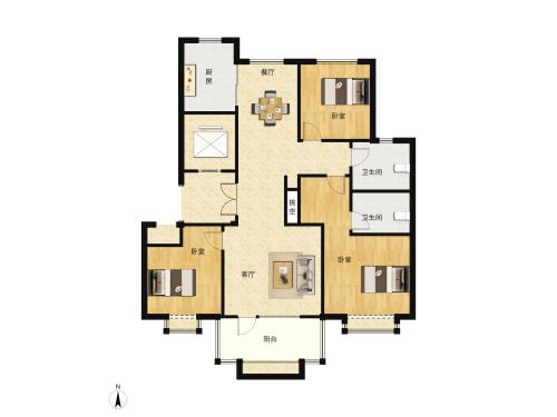新中铁城小高-3室2厅2卫-129m²