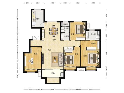 地平西棠甲第4室2厅2卫-143m²-3