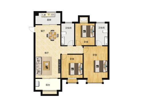 金科城3室2厅1卫-125m²-11