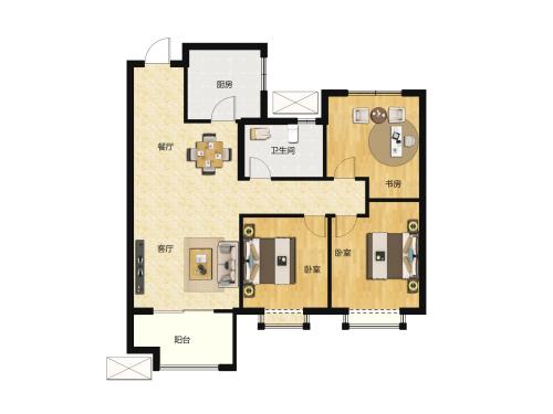 金科城3室2厅1卫-105m²-1