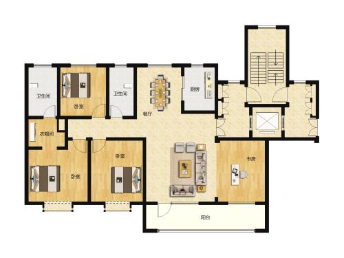 新中铁城洋房-5室2厅2卫-170m²