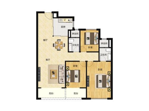 万科翡翠山语3室2厅2卫-130m²-7