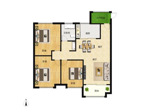 大尧风华盛景3室2厅1卫-108m²-1