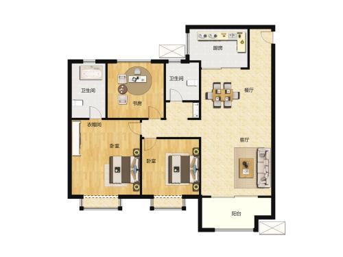 金科城3室2厅2卫-131m²-6