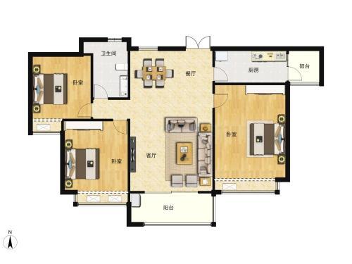 北纬37°康旅示范小镇3室2厅1卫,B3户型