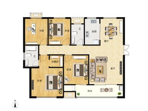 北纬37°康旅示范小镇4室2厅2卫,A户型