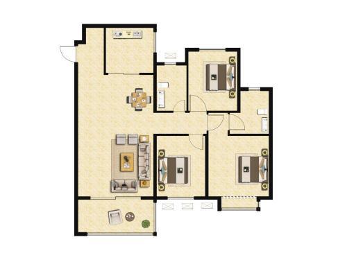 雅居乐锦城3室2厅2卫,125平户型
