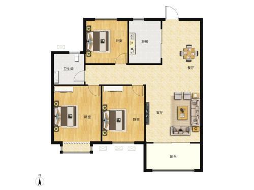雅居乐锦城3室2厅1卫,102平户型