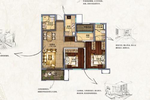 新南浔孔雀城C户型-3室2厅2卫1厨建筑面积107.00平米