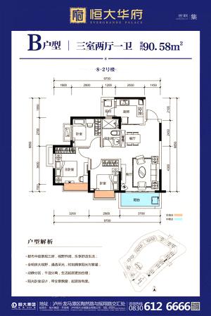 恒大华府8-2#B户型-3室2厅1卫1厨建筑面积90.58平米