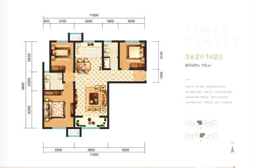 明丰阿基米德115平户型图-3室2厅2卫1厨建筑面积115.00平米