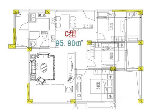 万信星城C户型-3室1厅2卫1厨建筑面积95.90平米