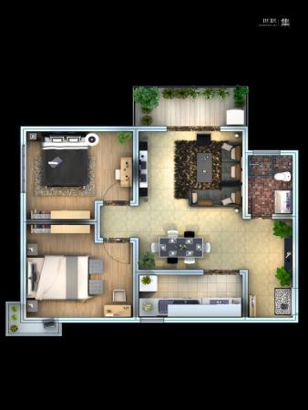 子午美居3号楼A、B户型-2室2厅1卫1厨建筑面积89.91平米