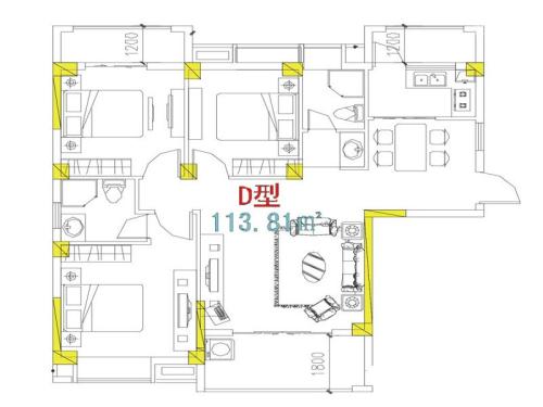 万信星城D户型-3室2厅2卫1厨建筑面积113.81平米