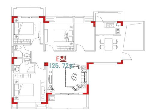 万信星城E户型-3室2厅2卫1厨建筑面积125.72平米