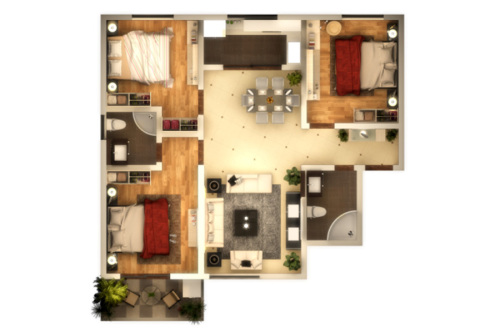 子午美居4号楼124平户型-3室2厅2卫1厨建筑面积124.00平米
