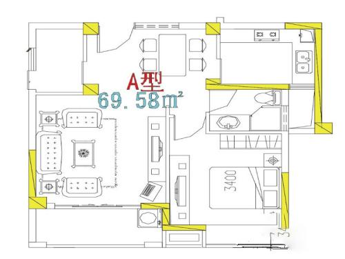 万信星城A户型-1室1厅1卫1厨建筑面积69.58平米