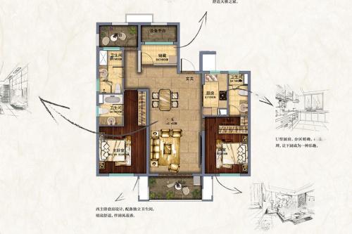 新南浔孔雀城E户型-3室2厅3卫1厨建筑面积140.00平米