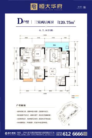 恒大华府D6、7、8-2三居(建120.75㎡)-3室2厅2卫1厨建筑面积120.75平米