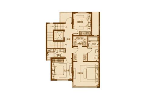 富力十号联排别墅B户型地上二层-6室1厅3卫1厨建筑面积320.00平米